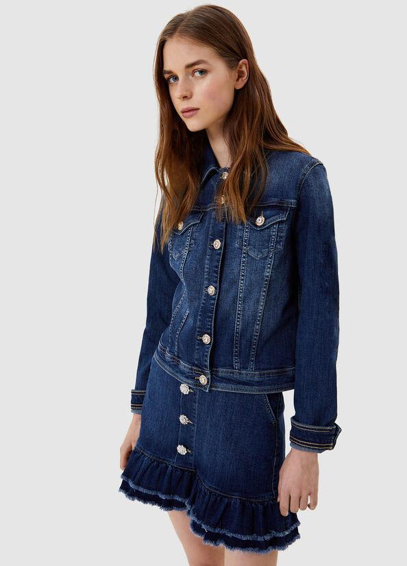 LIUJO Veste en jean avec boutons bijoux-1