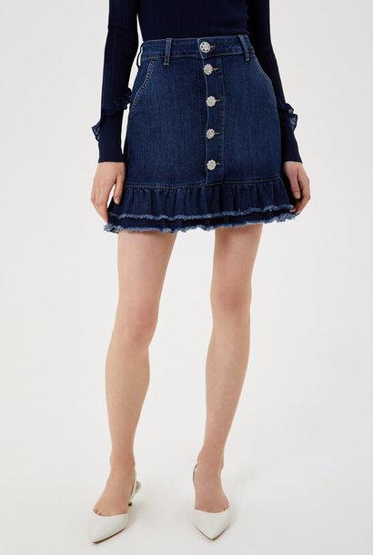 LIUJO Mini jupe en jean avec volants
