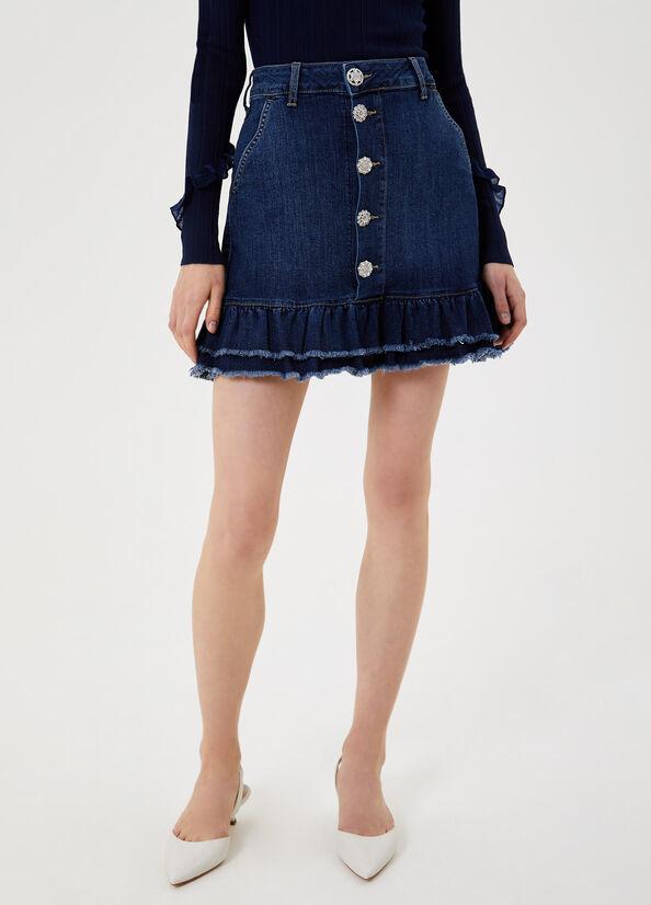 LIUJO Mini jupe en jean avec volants-1