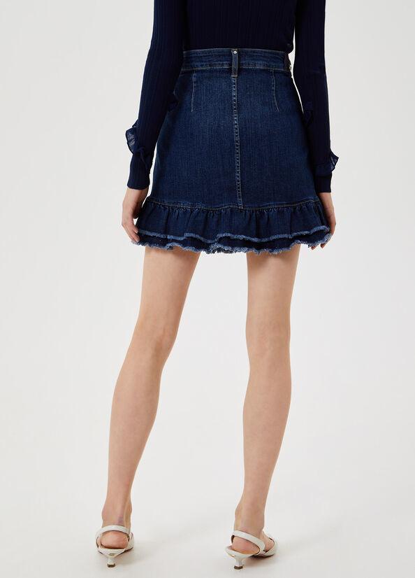 LIUJO Mini jupe en jean avec volants-2