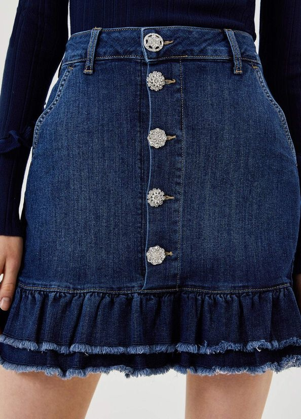 LIUJO Mini jupe en jean avec volants-3