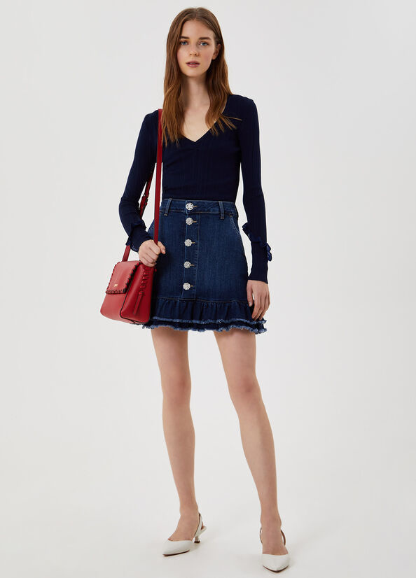 LIUJO Mini jupe en jean avec volants-4