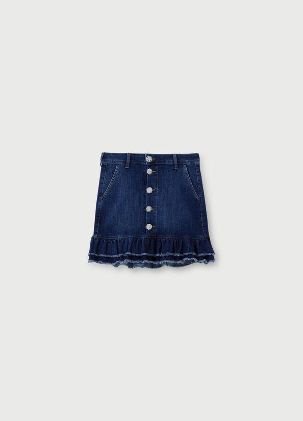 LIUJO Mini jupe en jean avec volants-5