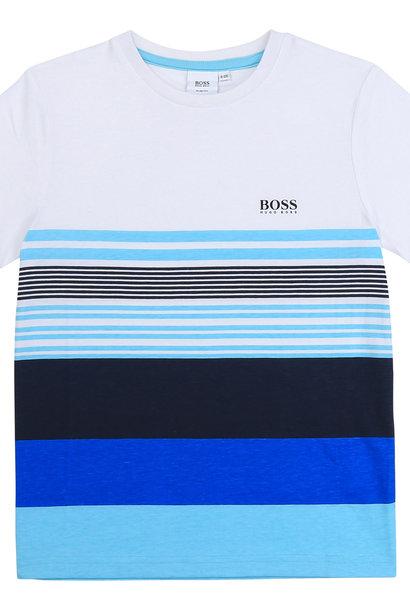 BOSS t-shirt avec bandes de couleurs de face