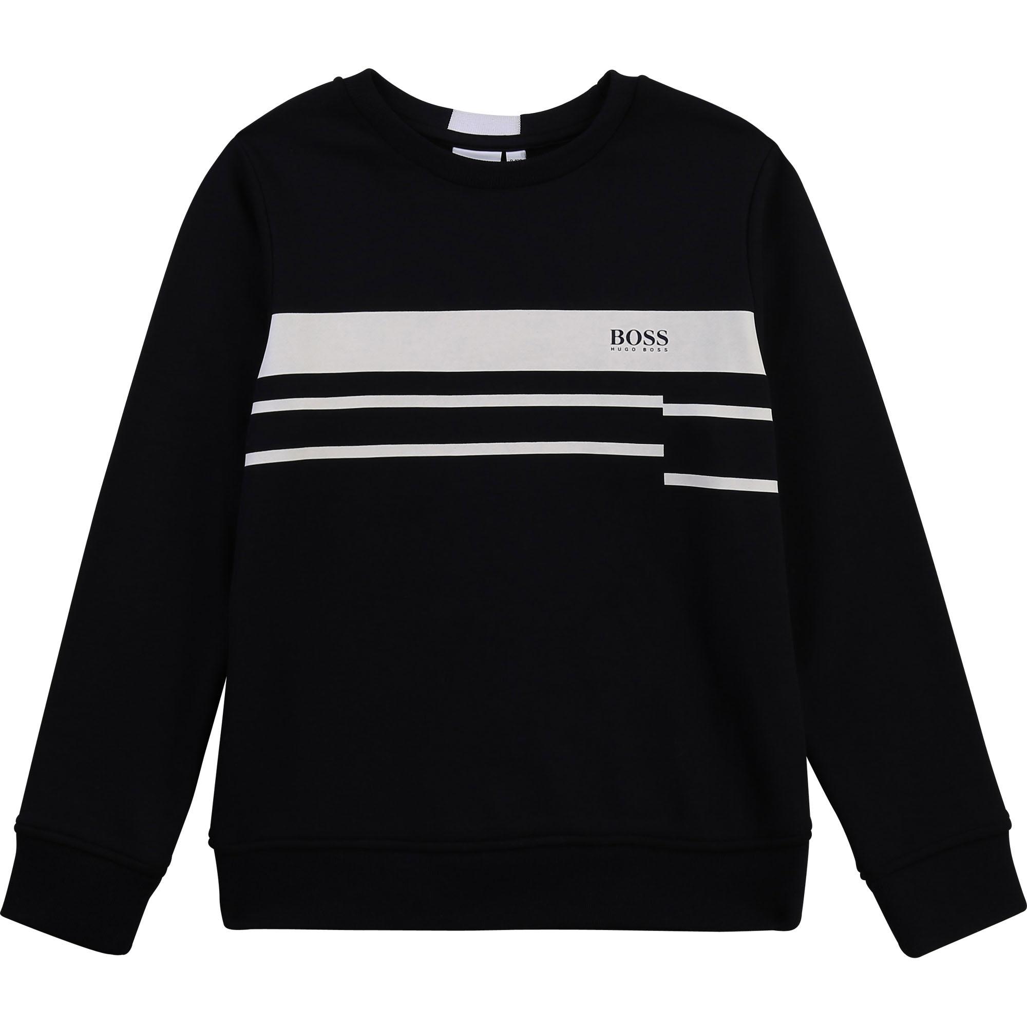 BOSS  sweat shirt avec lignes et logo-1