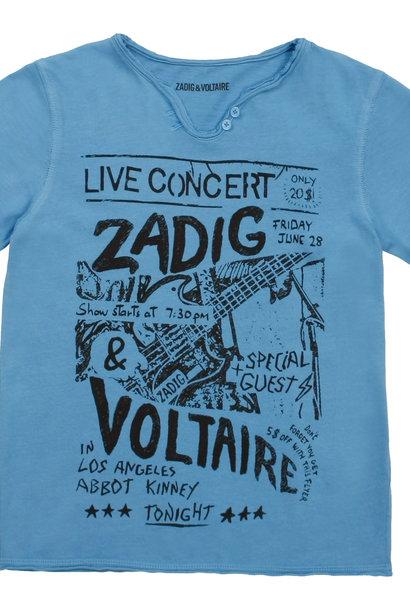 ZADIG&VOLTAIRE t-shirt col tunisien imprimé