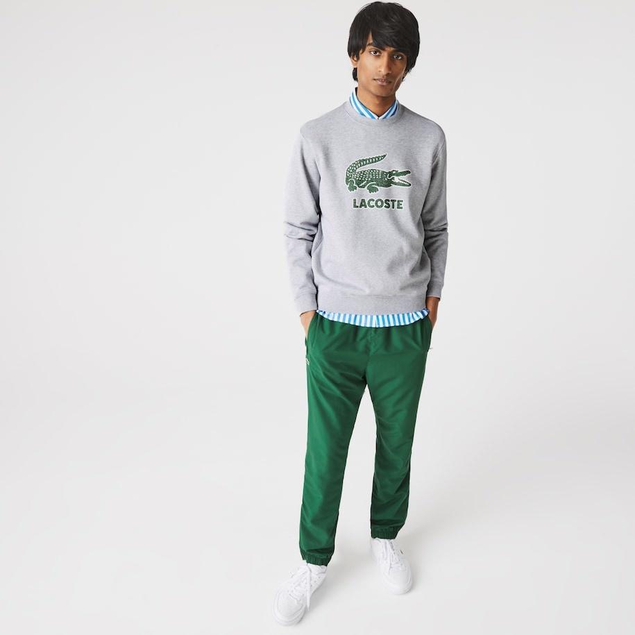 LACOSTE Sweatshirt à col rond en molleton avec logo craquelé imprimé-2