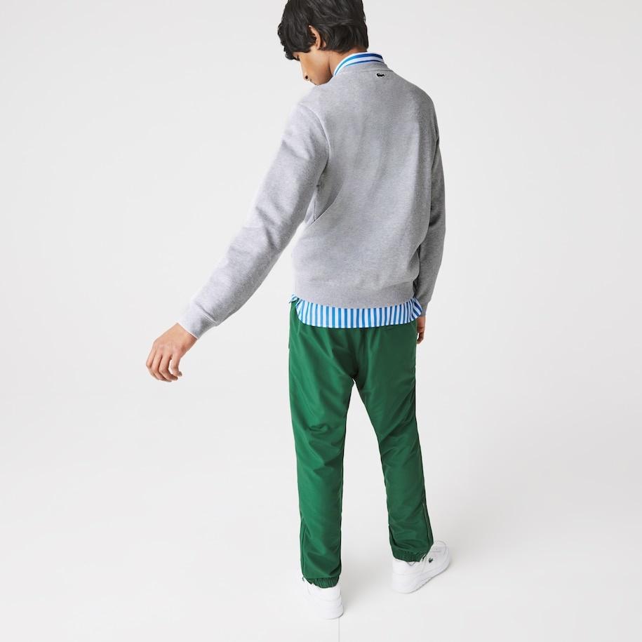 LACOSTE Sweatshirt à col rond en molleton avec logo craquelé imprimé-3