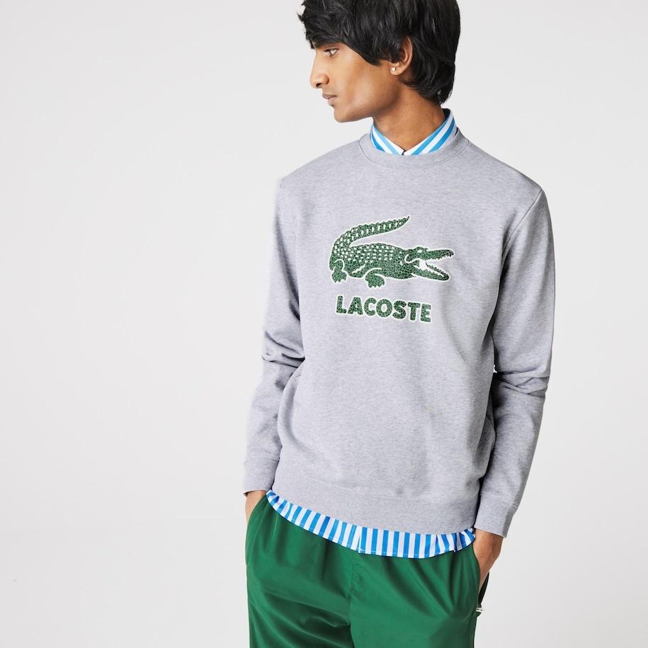 LACOSTE Sweatshirt à col rond en molleton avec logo craquelé imprimé-4