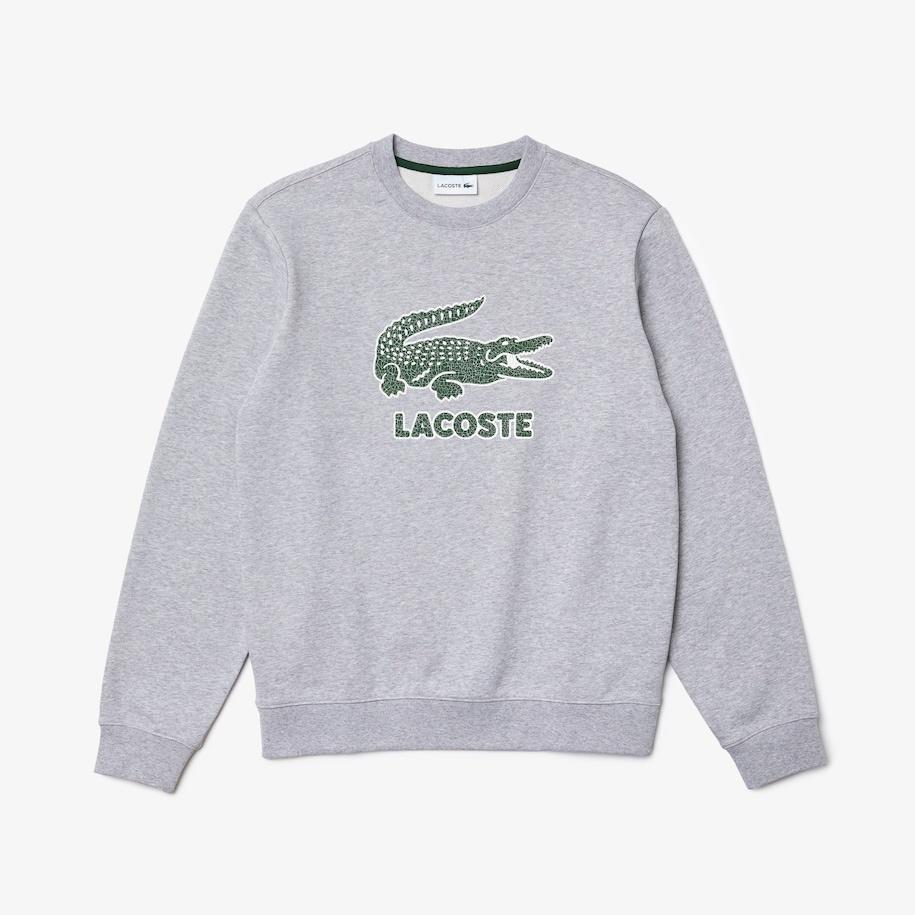 LACOSTE Sweatshirt à col rond en molleton avec logo craquelé imprimé-1