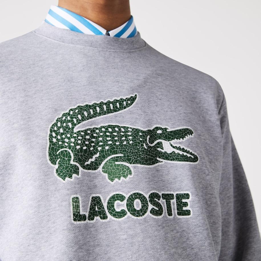 LACOSTE Sweatshirt à col rond en molleton avec logo craquelé imprimé-5