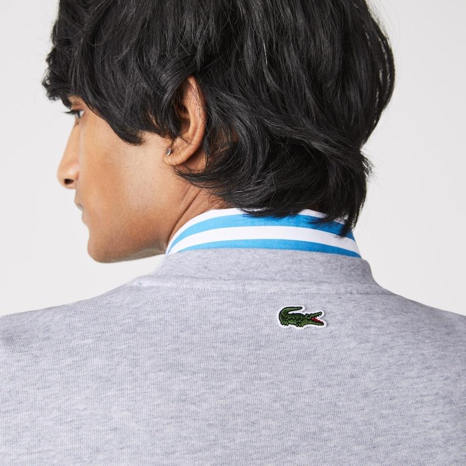 LACOSTE Sweatshirt à col rond en molleton avec logo craquelé imprimé-6