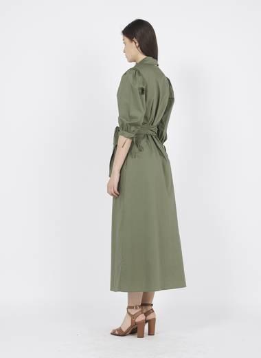 LIU JO Robe longue chemise en coton Vert-3