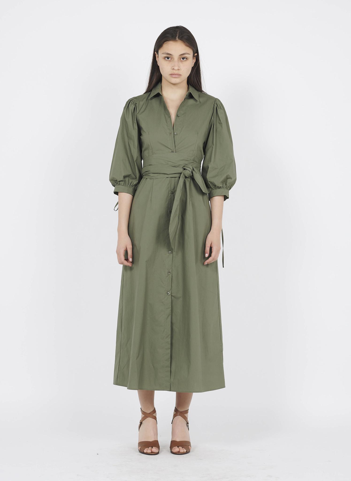 LIU JO Robe longue chemise en coton Vert-2
