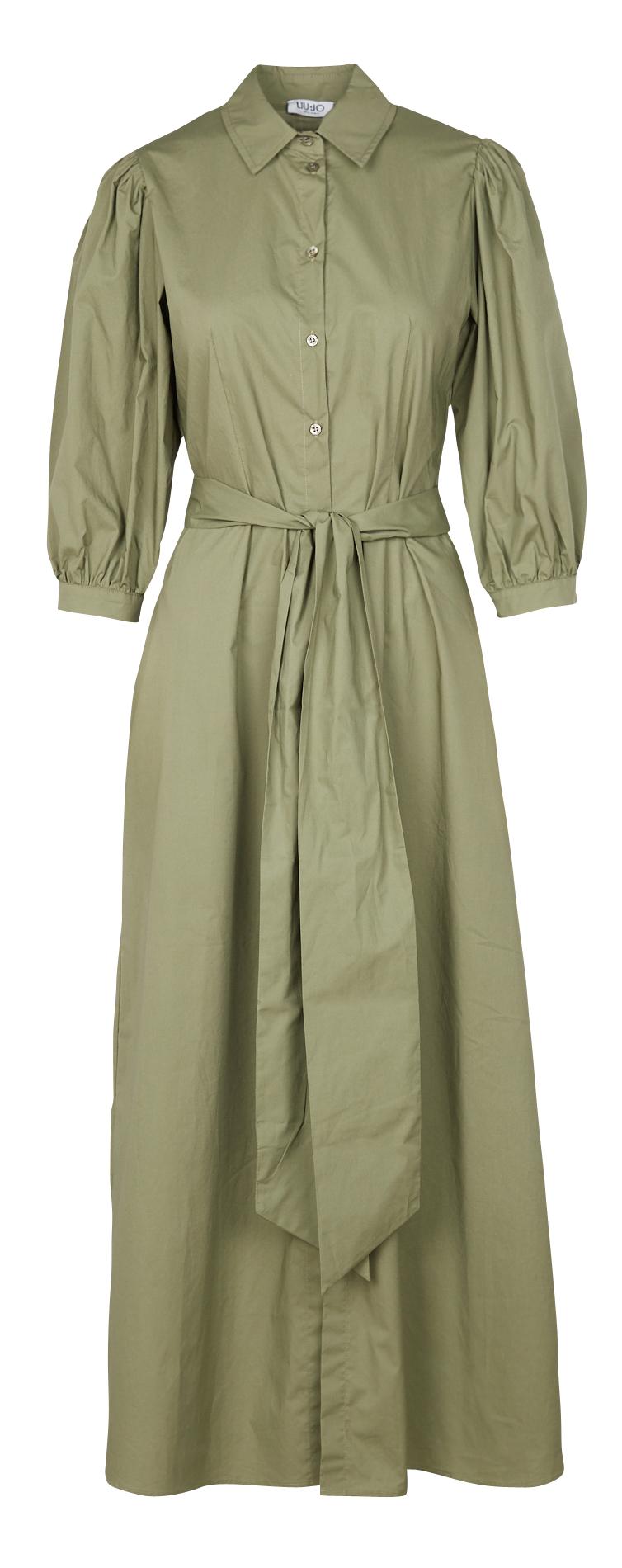 LIU JO Robe longue chemise en coton Vert-1