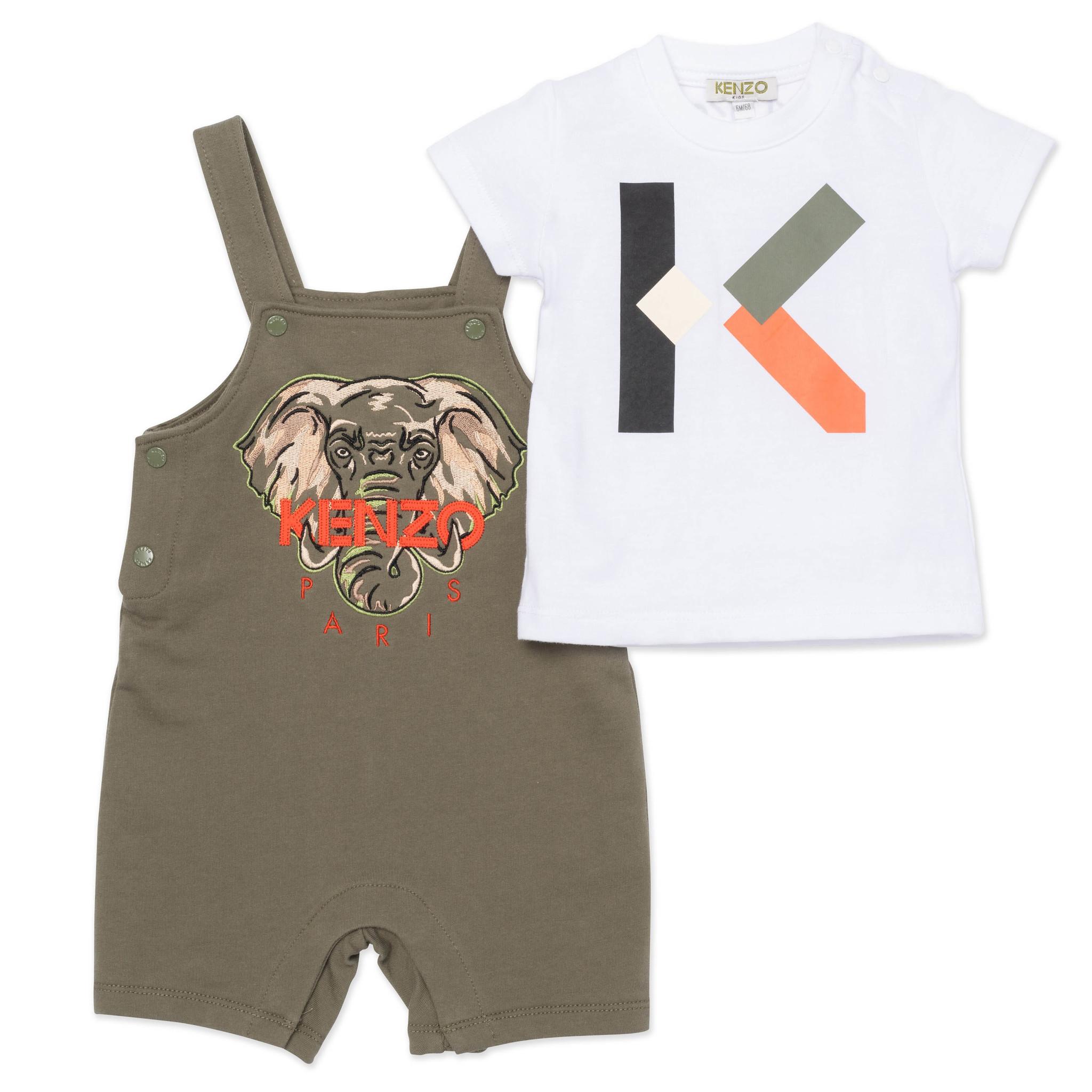 KENZO KIDS ensemble t shirt et salopette-1