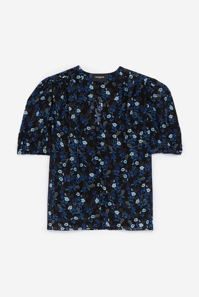 THE KOOPLES chemise bleue col v manches ballons