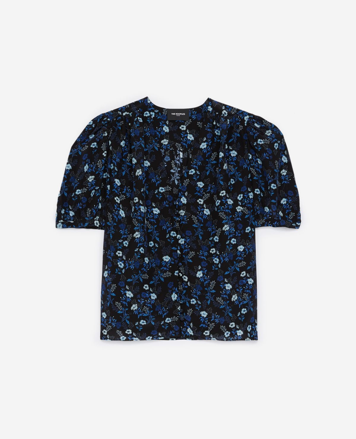 THE KOOPLES chemise bleue col v manches ballons-1
