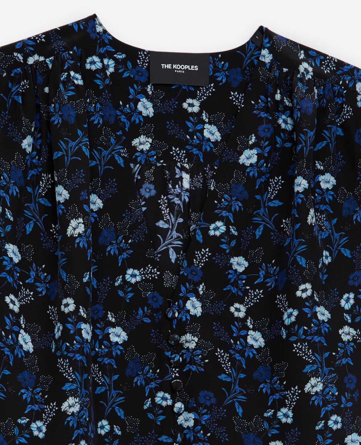 THE KOOPLES chemise bleue col v manches ballons-2