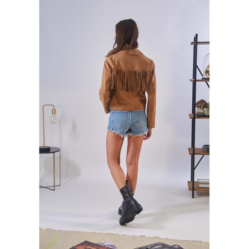 OAKWOOD veste a franges en cuir veritable-2