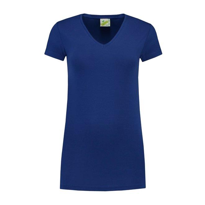 Extra lang dames T-shirt met V-hals
