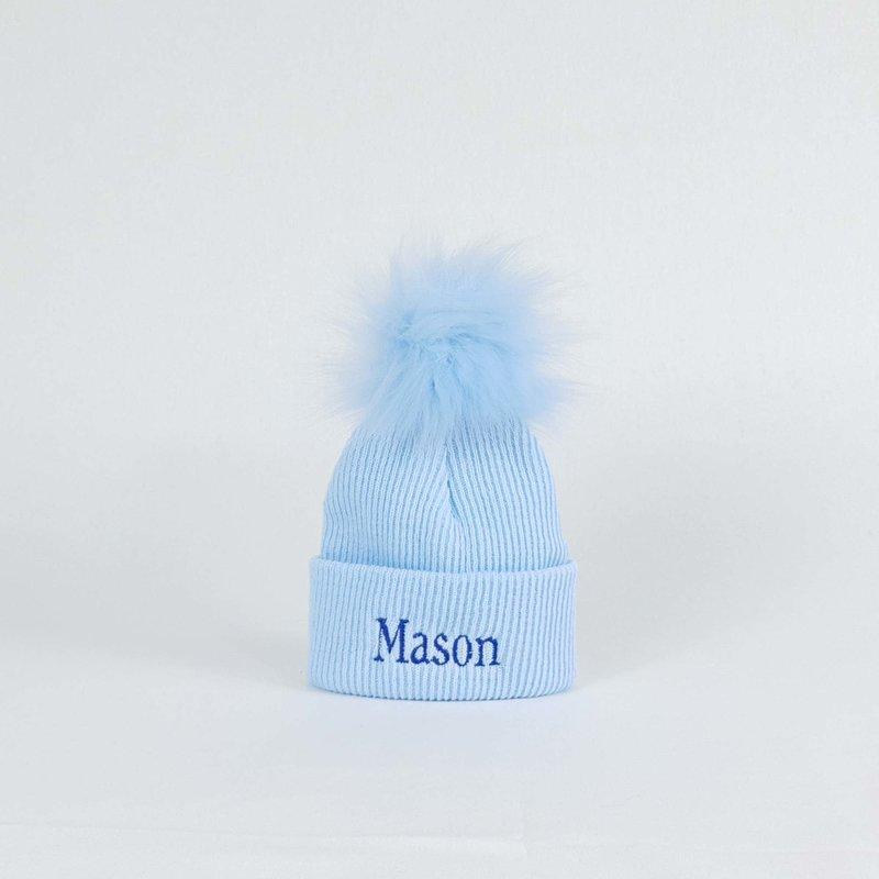 P&P Blue Newborn Pom Rib Hats