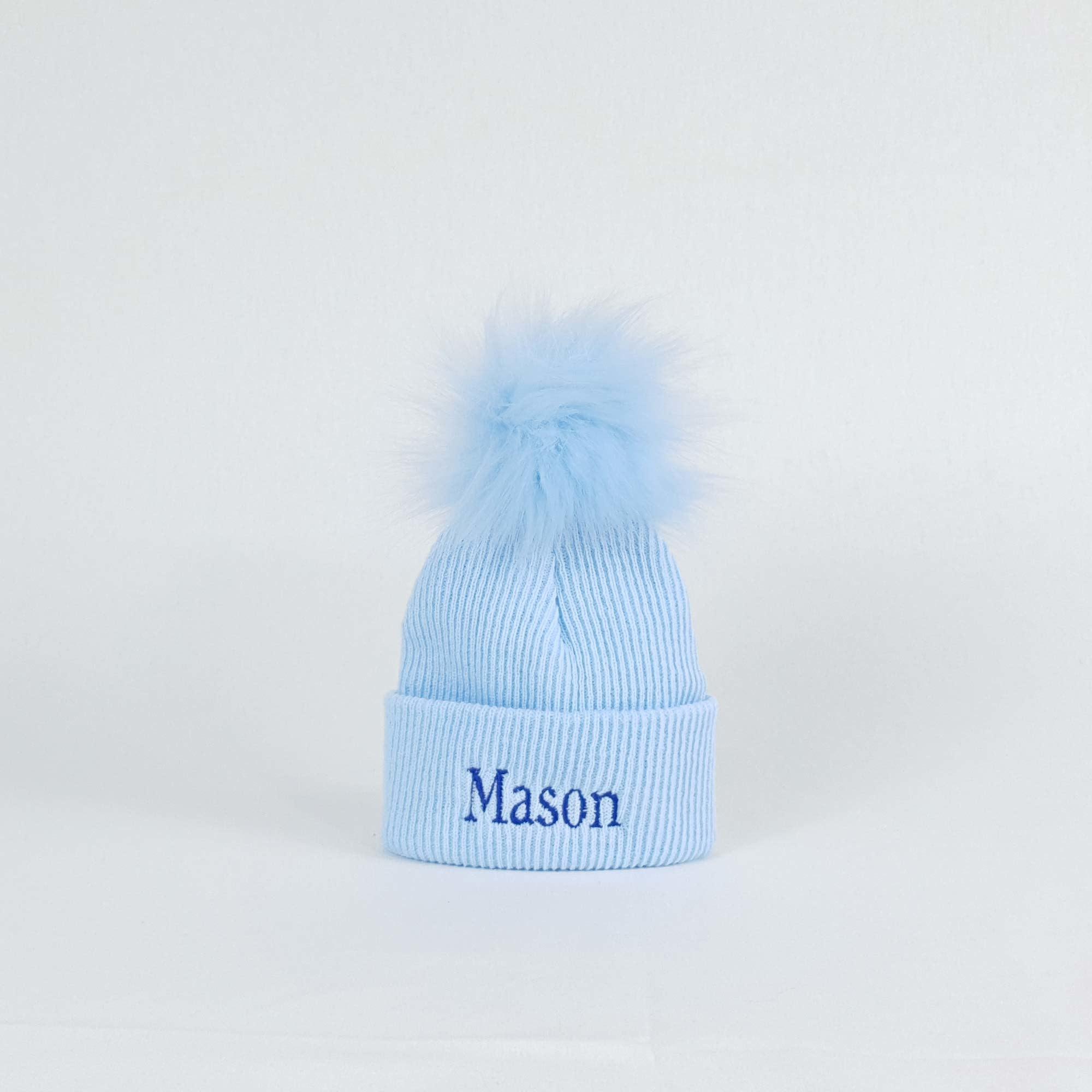 Blue Newborn Pom Rib Hats-3