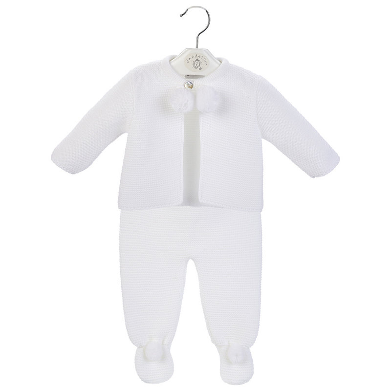 Dandelion White Baby Pom Suit