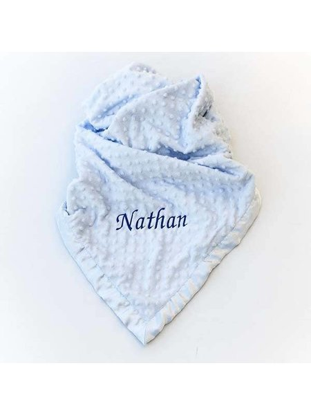 Personalised Baby Dimple Blanket Blue