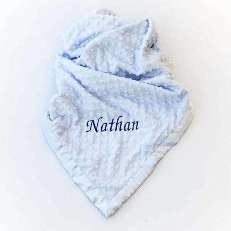 Personalised Baby Dimple Blanket Blue
