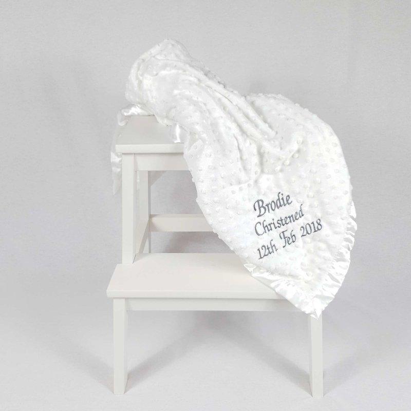 Personalised Baby Dimple Blanket White