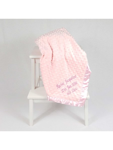 Personalised Baby Dimple Blanket Pink
