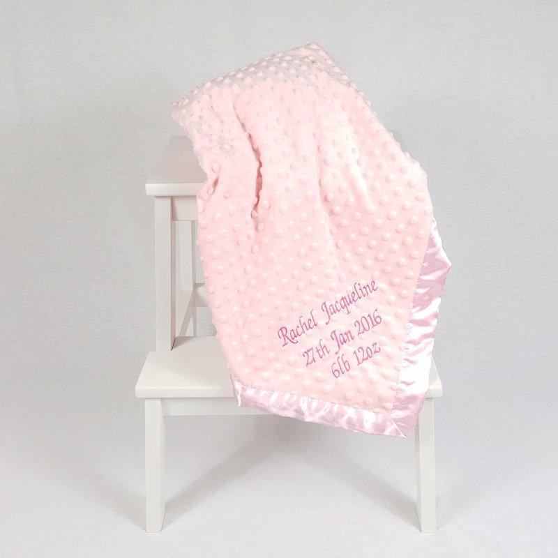 Personalised Baby Dimple Blanket Pink