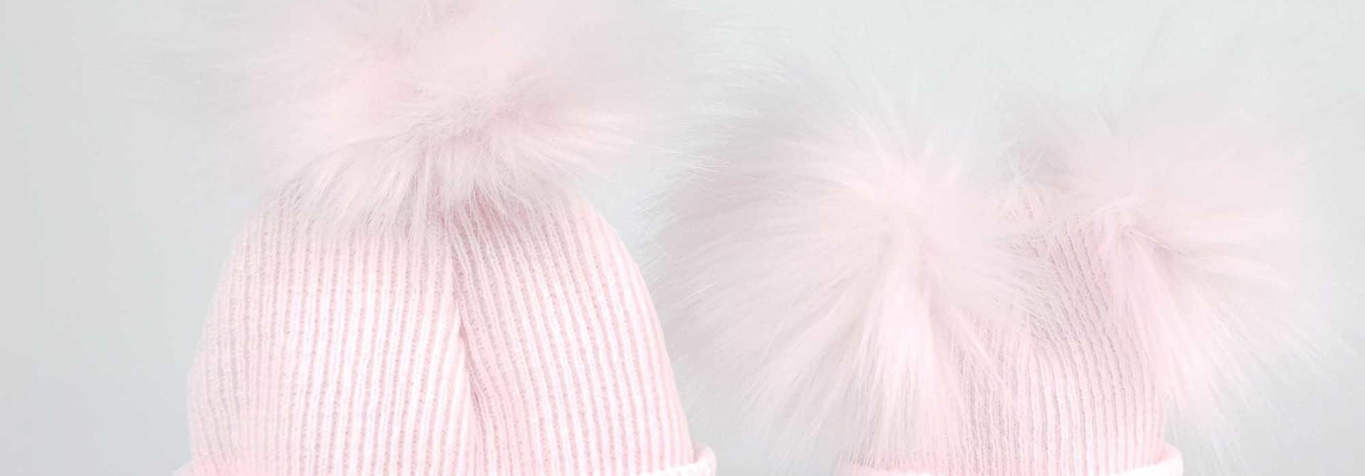 Pink Newborn Pom Rib Hats