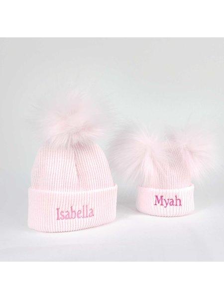 P&P Pink Newborn Pom Rib Hats