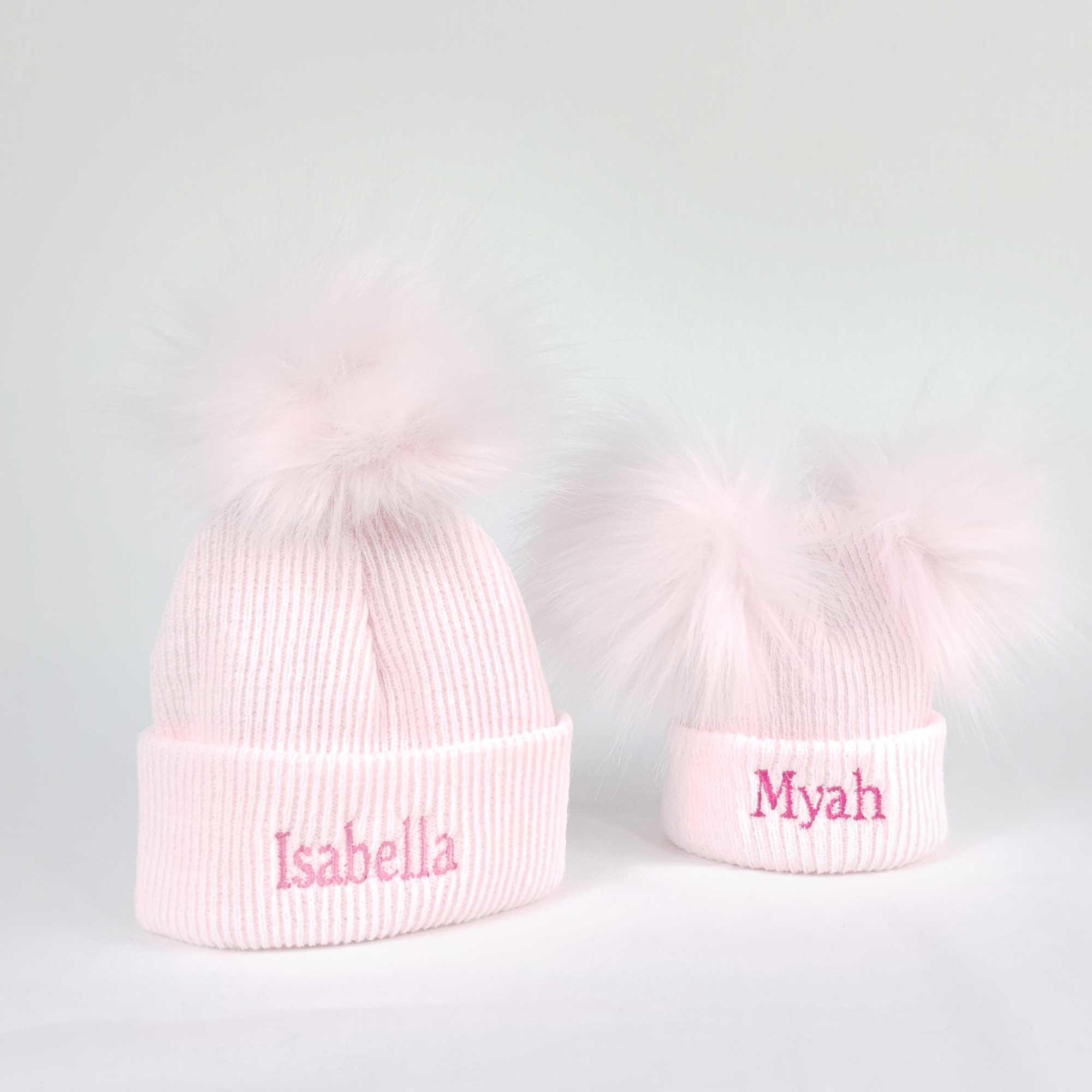 Pink Newborn Pom Rib Hats-1