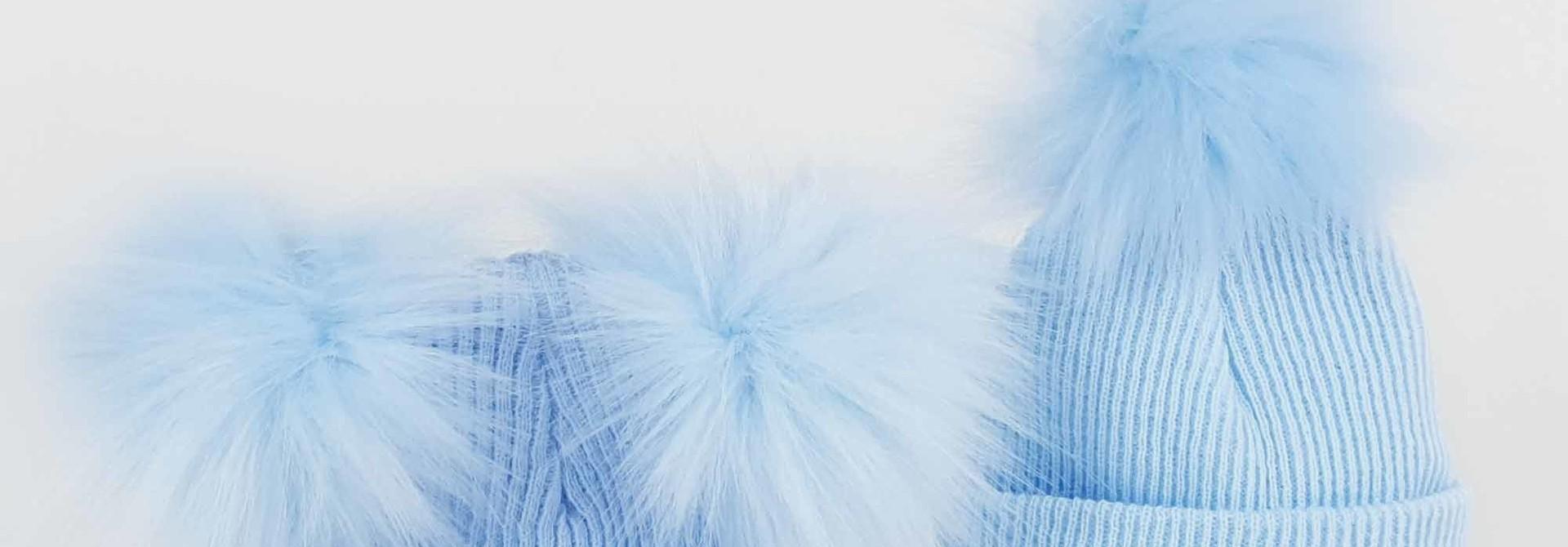 Blue Newborn Pom Rib Hats