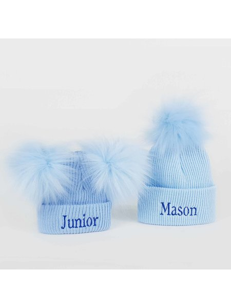 P&P Blue Newborn Pom Rib Hats
