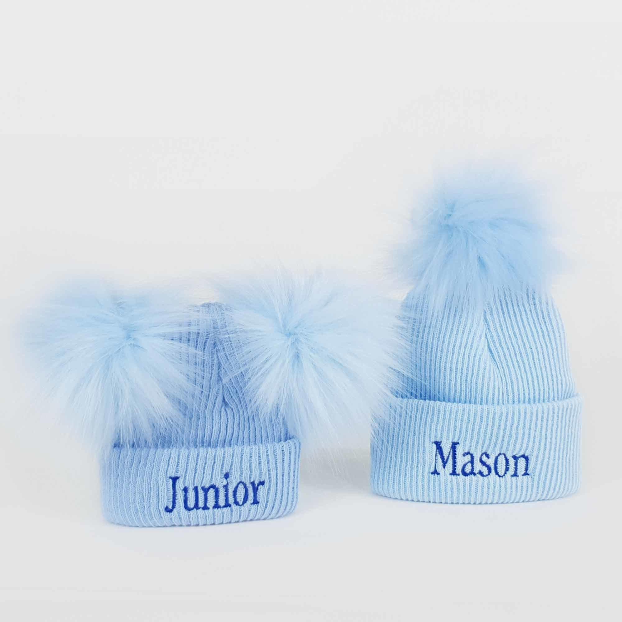 Blue Newborn Pom Rib Hats-1