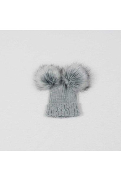 Grey Knit Baby Pom Pom Hats