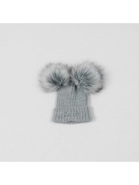 Nursery Time Grey Knit Baby Pom Pom Hats