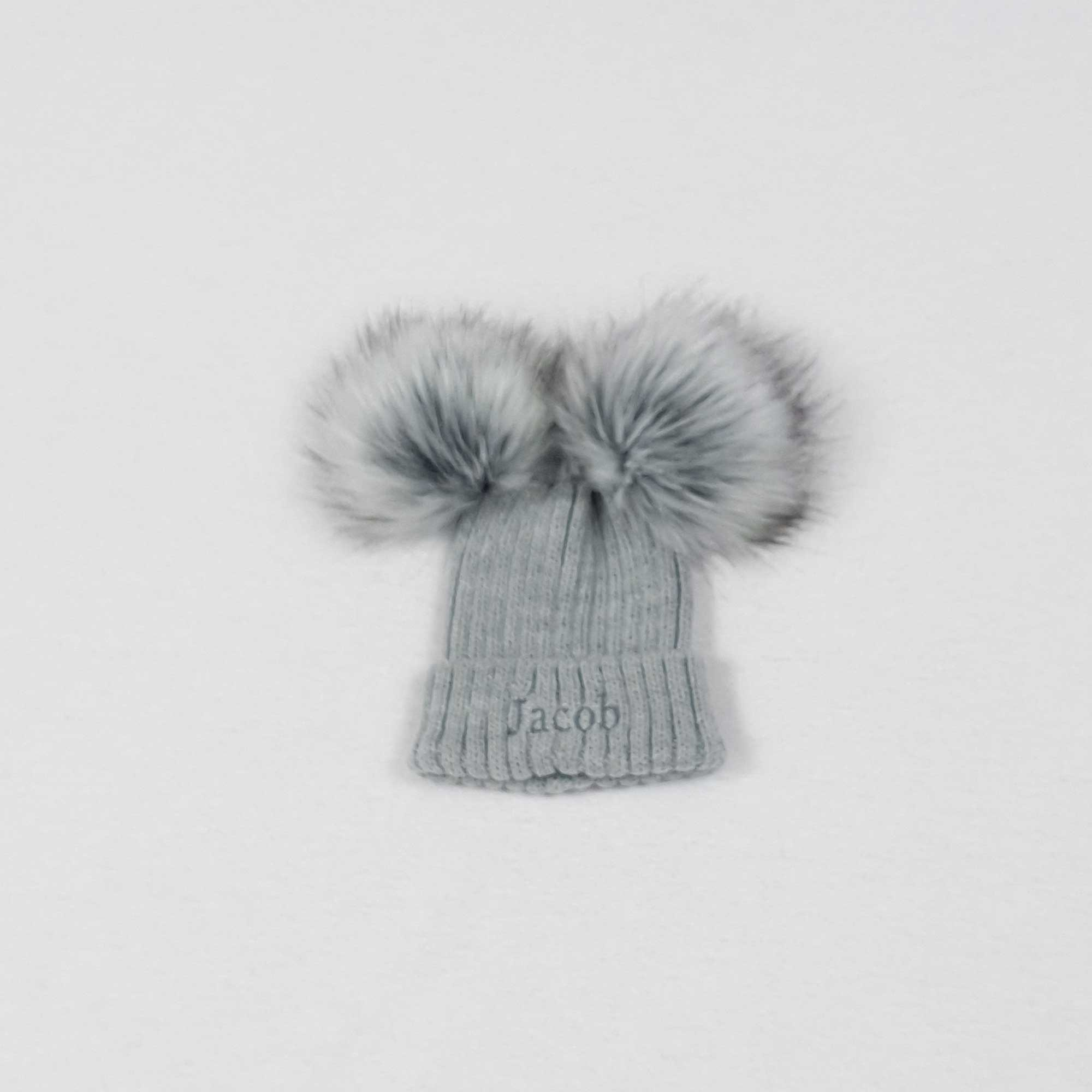 Grey Knit Baby Pom Pom Hats-1