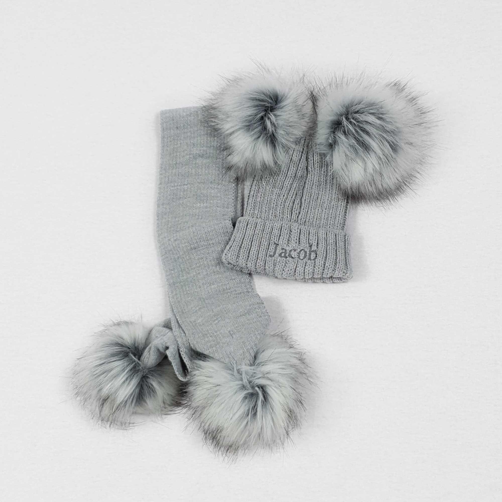 Grey Knit Baby Pom Pom Hats-2