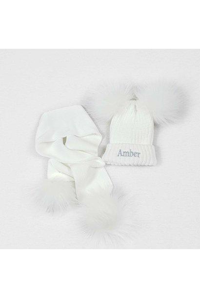 White Knit Baby Pom Pom Hats