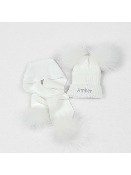 Nursery Time White Knit Baby Pom Pom Hats