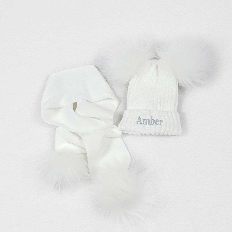 Nursery Time White Knit Baby Pom Pom Hats