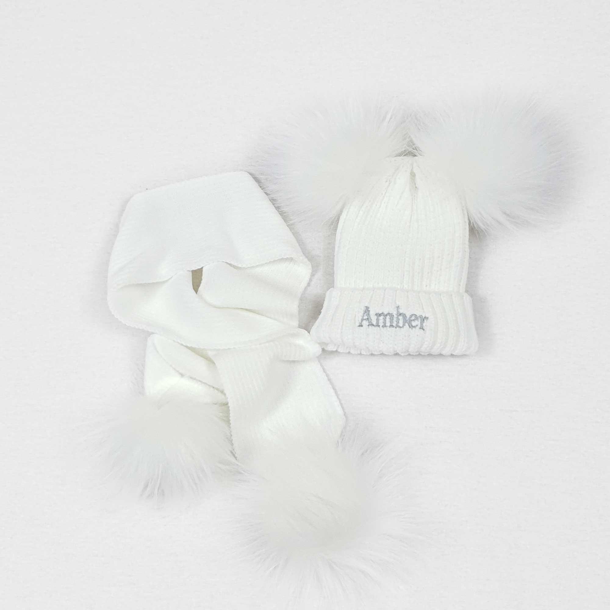 White Knit Baby Pom Pom Hats-1