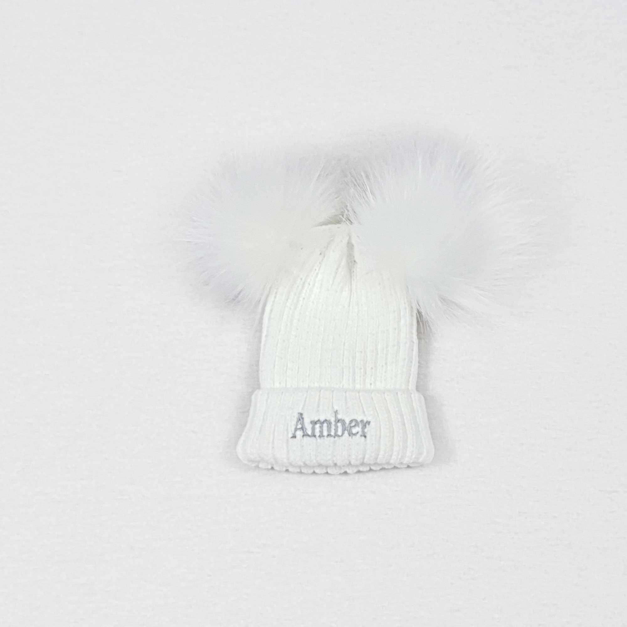 White Knit Baby Pom Pom Hats-2