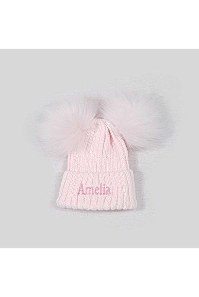Pink Knit Baby Pom Pom Hats