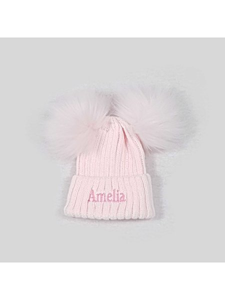 Nursery Time Pink Knit Baby Pom Pom Hats